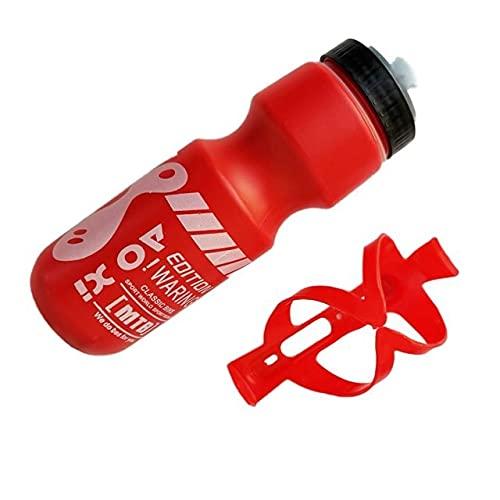 Botella de Agua Potable Directa de 750 ml con Soporte para Bicicleta de montaña Bicicleta Deportiva Botella de Agua con Cubierta Antipolvo + portabidón - t4, Amarillo