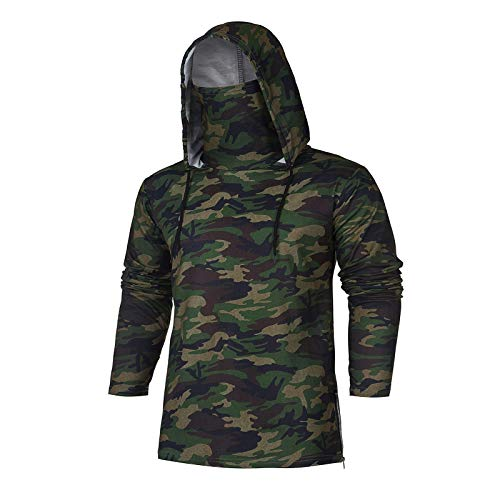 Men Sports Hooded Splice Pullover Hoodie with Mask Casual Vest Lightweight SleevelessLong Sleeve Hooded Sweatshirts Green Camouflage