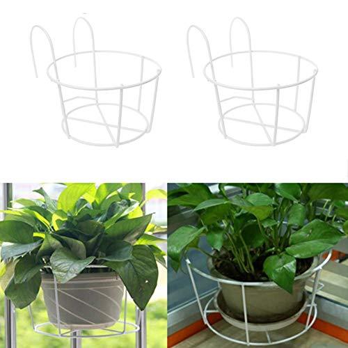 Atlnso - Soporte para macetas de metal para colgar vallas, macetas, cestas de balcón, para colgar plantas y planchas, para valla de barandilla al aire libre, paquete de 2