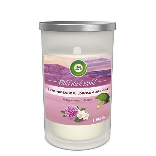 Air Wick - Vela aromática relajante en tarro de cristal, aroma de rosa salvaje y jazmín, contiene aceites esenciales naturales, 1 vela perfumada en color blanco