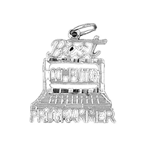 Jewels Obsession - Colgante programador de ordenador (oro blanco de 14 quilates, 20 mm)