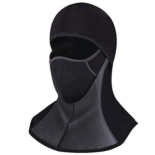 ROTTO Pasamontañas Moto Negro Impermeable Esquí Ciclismo Snowboard Máscara Facial de Deportes al Aire Libre Calentar a Prueba de Viento Tamaño Universal (Negro-B(sin Cremallera))