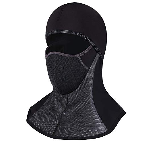 ROTTO Passamontagna Moto Balaclava Nero Sci Snowboard Bici Mask Impermeabile Termico A Prova di Vento Dimensioni Universali (Nero-B(senza cerniera))
