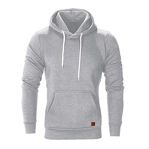 MITCOWBOYS Sudadera con capucha para hombre para otoño e invierno, ligera, de manga larga, deportiva, con capucha, para entretiempo, gris, XXXL