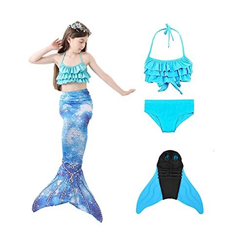 Cola de Sirena Niñas, Traje de Baño Bikini de Verano Natación al Aire Libre, Regalo de Cosplay de Princesa Sirena 4 PCS (130)