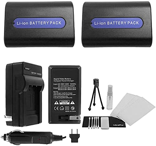 UltraPro 2-Pack NP-FH40 / NP-FH50 High-Capacity Replacement Batteries with Rapid Travel Charger for Select Sony Models - UltraPro Deluxe Accessory Set Included