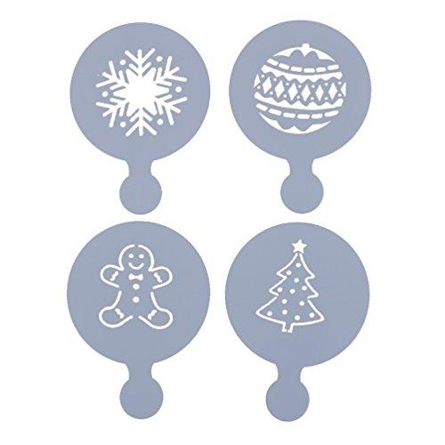 YNuth 4pz Stampini per Cappuccino Caffè Cottura Decorazione Stencil Natale Cappuccino Template Cospargere Pad Duster Spray Art