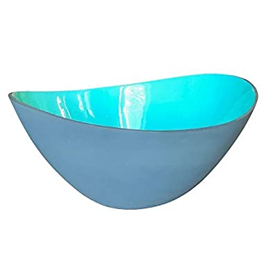 Large Teal and Grey Wave Salad Bowl by Kauri Design   Over-sized Ceramic Serving Bowl