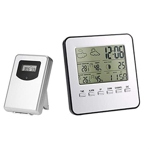 ZHOUCHENPQ Outils Station météorologique de thermomètre d intérieur extérieur sans Fil avec Alarme d horloge d humidité 449C
