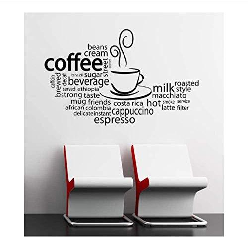 Cafe Verwijderbare Koffie Stijl Muursticker Restaurant Café Shop Decoratie Vinyl Verschillende Koffie Soorten Muren 67X42Cm