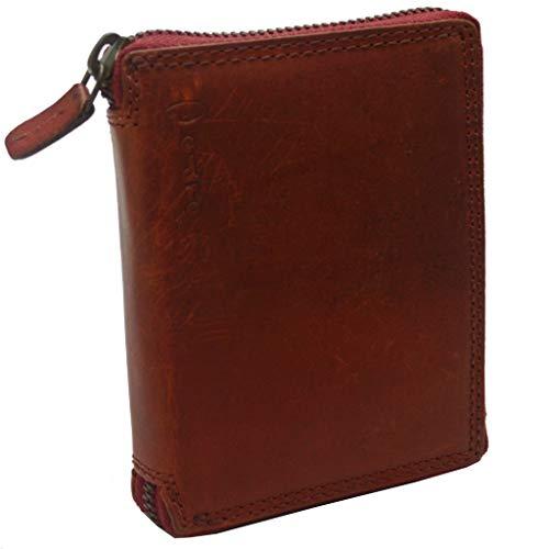 Pedro Vintage Geldbörse Used Look Portmonnaie Voll Leder rot (Modell 5)