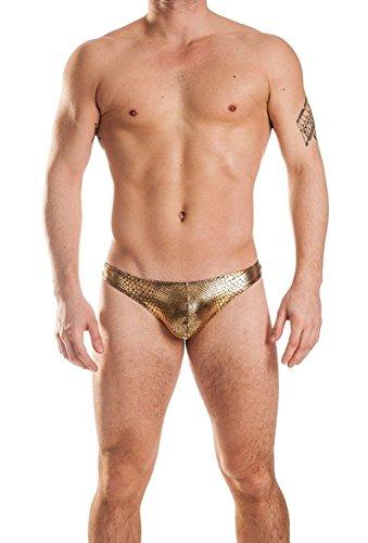 Gary Majdell Sport Mens New Gold Anaconda Thong Swimsuit Underwear Size Medium