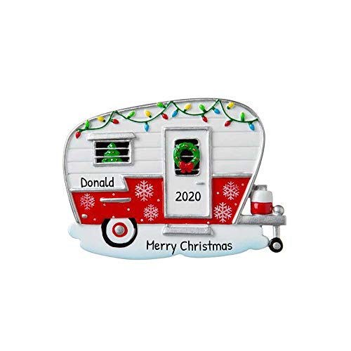 Personalized Xmas Camper Christmas Tree Ornament 2020 - Home-Away Light Garnish Car Van Station Wagon 1st Hobby Truck Family Friend Couple Ride Summer Outdoor Active Wood Year - Free Customization