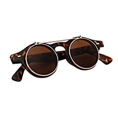 Sunglasses Men's Ladies Flip Up Lens U400 Protection Vintage Classic Steampunk Look (A1 Tortoise) #2