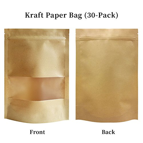 "51groups Kraft Paper Bag with Transparent Window Dry Food Snack Storage | Home, DIY, Commercial Use | Store Coffee, Tea Leaves, Nut, Candy | Food-Grade Safe (7"" X 10"")"