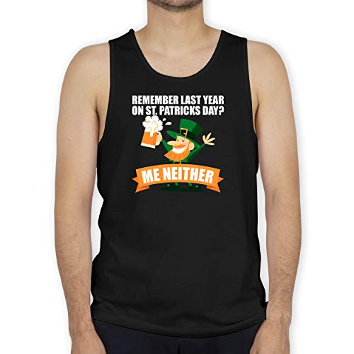 St. Patricks Day - Remember Last Year on St. Patricks Day? - M - Schwarz - Spruch - BCTM072 - Tanktop Herren und Tank-Top Männer
