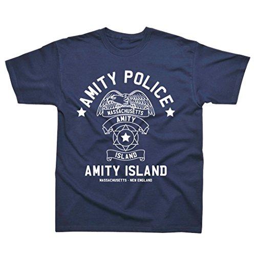Jaws Amity Island Police Adults Blue T-shirt, S to XXL