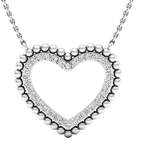 Dazzlingrock Collection 0.50 Carat (ctw) 14K Round White Diamond Ladies Heart Pendant 1/2 CT (Silver Chain), White Gold