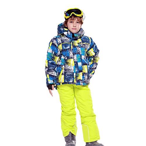 Lvguang Kind Berg wasserdichte Kapuzen Skijacke Winddicht Warme Winterregen Schneejacke Wear & Ski Pants (Gelb#1, Asia L)