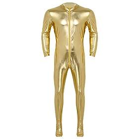 ACSUSS Adult Costume Spandex Metallic Stretch Zentai Unitard Body Suit Clubwear