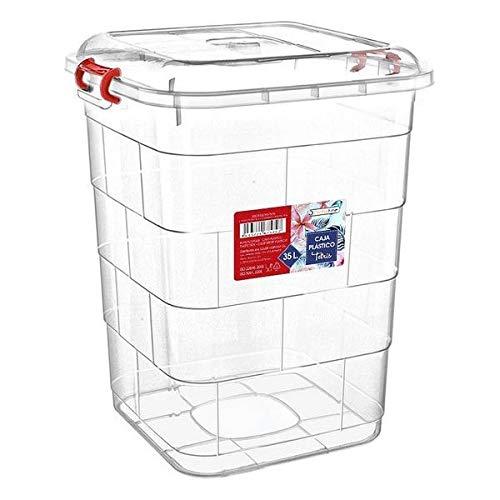 Eurroweb - Caja de almacenaje de plástico con tapa (50 x 50...