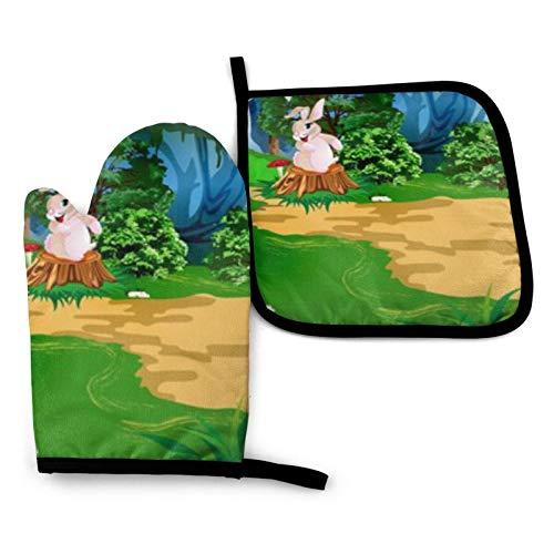 BONRI Juego de manoplas y soportes para horno con diseño de escena forestal, guantes y agarraderas de horno con guantes de cocina antideslizantes reciclables de poliéster para cocinar y asar