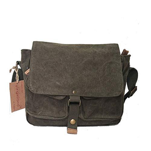 Unbekannt Tasche Schulter-Art-Weinlese gewaschenem Leinen Männer Messenger Bag mit Miete Leder Lop Schultertasche (Color : Army Green, Size : S)