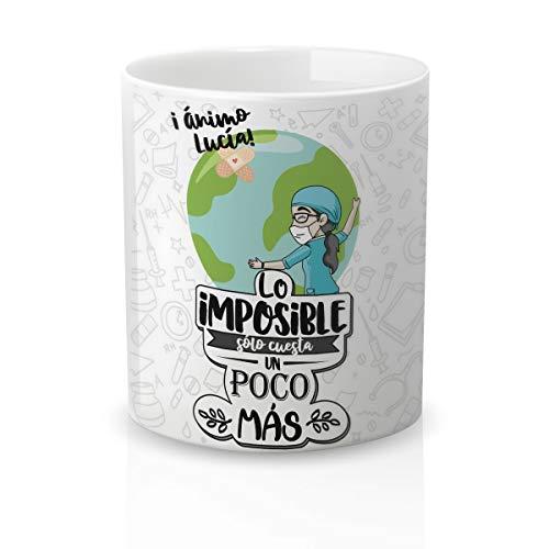 Yujuuu! | Taza Personalizable con Nombre | Taza cerámica para Regalo Original Profesión Enfermera. Resistente 100% al microondas y lavavajillas. (Diseño 03) Frase Imposible Cuesta Poco más.