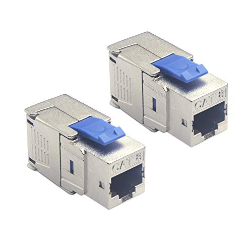 VCELINK Keystone Jack Modul CAT8 RJ45 Buchse Verlegekabel,Geschirmt, bis 40 Gigabit Ethernet,Werkzeuglos, Kompatibel mit CAT7A CAT7 CAT6A 2 Stück