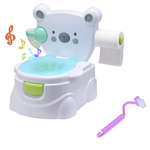 Voilamart Toilettentrainer mit Musik Kidskit Kindertopf Töpfchen Kindertoilette Kindertopf Kindertopf Lerntöpfchen,Ab ca. 6 Monate (Bär Muster)