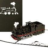 Biglietto pop-up 'Dampflok' – Biglietto di auguri 3D e locomotiva con trenino in carta – idea regalo non solo per bambini