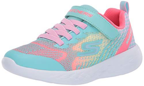 Skechers Kids Girls' GO Run 600-RADIANT Runner Sneaker, Aqua/Multi, 13 Medium US Little Kid
