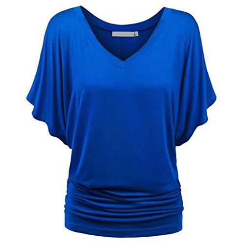 MRULIC Damen Pure Casual T-Shirt Top Tiefem V-Ausschnitt Bluse Plus Größe(A-Blau,EU-46/CN-2XL)