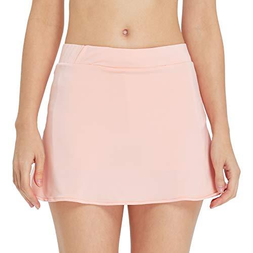 birbyrrly Damen Tennisrock mit Taschen, Shorts, Seitenschlitz, athletischer Skort für Golf, Laufen, Workout - Pink - Klein