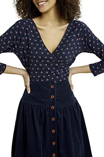 People Tree Damen Organic Renee Weave Print Top Bluse, Navy, 36