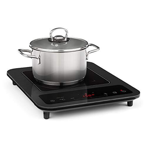 Klarstein SlimChef placa de cocina - Cocina de inducción, 1800 W, 10 niveles de potencia y de temperatura, Pantalla LED, Autoapagado, Vitrocerámica, Seguro para niños, No quema, Negro