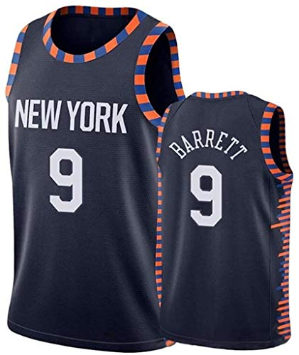 llp Retro Men's Basketball Jersey, New York Knicks Barrett # 9 Fitness de Verano Secado rápido Basketball Jersey Bordado Swingman Training T-Shirt (Size : XX-Large)