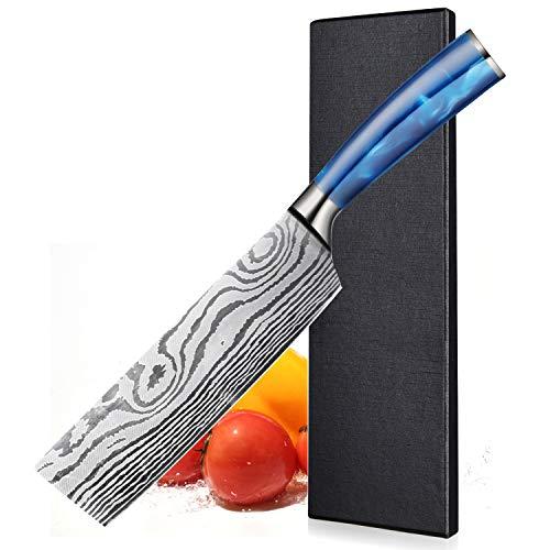 Cuchillo Chino - 17cm BILLION DUO Cuchillos de Cocina - Cuchillo de Verduras, Cuchilla de Carnicero Mango Ergonómico de Resina Azul, la Mejor Opción para Cocina Casera y Restaurante, Caja de regalof