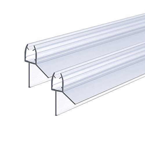 IMPTS Duschtür Dichtung, 2x100cm Duschdichtung für 5mm, 6mm Glasdicke, Ersatzdichtung Duschkabine Wasserabweiser Schwallschutz Dichtkeder - Transparent