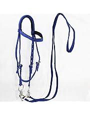 Cabezadas y riendas de hípica,cuerda de trabajo de cabestro para caballos mordida en la boca Material del caballo Shetty del cabestro del equipo ecuestre del pedazo del caballo ,Azul,shoulder 1.3M