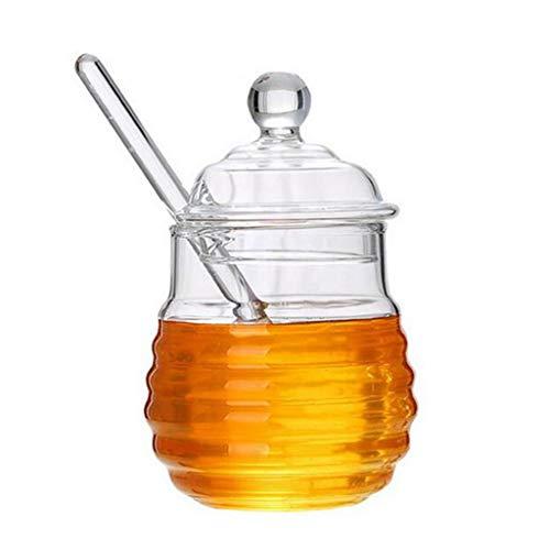 FLAMEER Tarro de Miel Tarro de Miel Transparente Tarro de Miel Pequeña Taza de con Juego de Cucharas de Miel