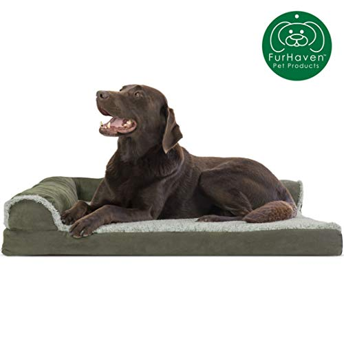 Furhaven Pet Dog Bed | Deluxe Orthopedic Two-Tone Plush Faux Fur & Suede L Shaped Chaise Lounge...