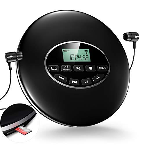 Gueray Tragbarer CD Player mit Kopfhörer und 3,5 bis 3,5 mm AUX-Kabel Unterstützt TF Card Play für Hörbücher Musikhören