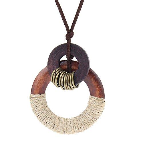 Axiba Chandail rétro chaîne Art Cent Coton Lin Accessoires Simple Anneau en Bois Pendentif Collier Original Fille Cadeaux de Vacances