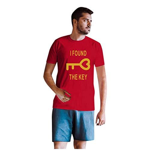 Dasongff Couple-shirts voor dames en heren, cadeauset voor verliefden, partnerlook, sleutels en vergrendeling Small rood/heren.