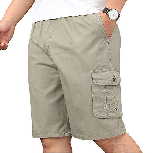 XinnanDe Mens Lightweight Elastic Cargo Short Relaxed Fit Summer Drawstring Casual Twill Short Khaki 38