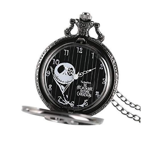 xuew Reloj de Bolsillo de Cuarzo analógico Unisex Negro Pesadilla Antes de la Vendimia del Reloj de Bolsillo de Navidad con la Cadena