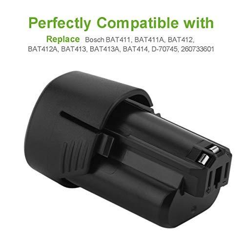 Bonacell 2 Packs 3.0Ah BAT411 Battery Compatible with Bosch 12 Volt Battery BAT411A BAT412 BAT412A BAT413 BAT413A BAT414 D-70745 2607336013 26073360 GBA12V30 BAT420 12V/10.8V Li-ion Battery Pack