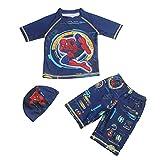 Xyh723 Maillots De Bain pour Enfants Spiderman pour Tout-Petits Combinaison Plage pour Garçons Surf D'été Costume Natation À Séchage Rapide Protection Solaire Vêtements,Blue-S/85~110CM