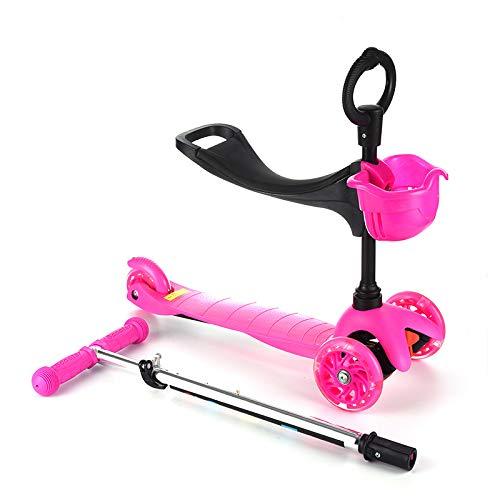 LITIAN Kinder Folding Roller Dreirad-Roller-Flash-Kind-Roller Pink